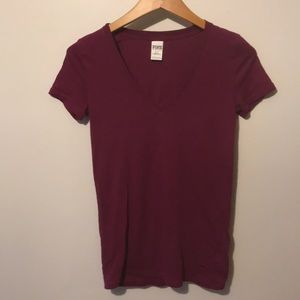 VS PINK Maroon V Neck T Shirt Size Small